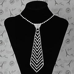 Luxury Style Metal Tie Shape Setting Diamond Necklace(Silver)(1Pc)
