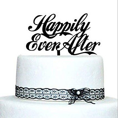 קישוטים לעוגה לא מותאם אישית אקרילי חתונה / יום שנה / מסיבה לכלה זהב / כסף / שחור נושאי גן / נושא קלאסי 1 OPP