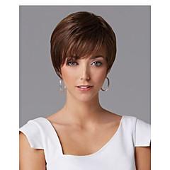 billiga Peruker och hårförlängning-Syntetiska peruker Rak Asymmetrisk frisyr Syntetiskt hår Naturlig hårlinje Mörkbrun Peruk Dam Korta Kostym Peruk / Naturlig peruk Utan
