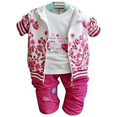 baratos Roupas de Meninas-Para Meninas Conjunto Floral Primavera Outono Manga Longa Rosa claro Vermelho Escuro