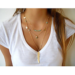 Women's Cross Feather Tassel Vintage Cute Party Work Casual Fashion Multi Layer Layered Necklace Turquoise Alloy Layered Necklace ,