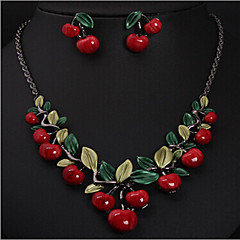MPL Europe and the United States cherry Fashion Necklace Earrings Set