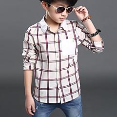 billige Overdele til drenge-Børn Drenge Afslappet Ternet Patchwork Langærmet Skjorte