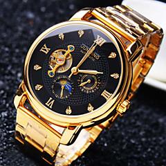Homens relógio mecânico Automático - da corda automáticamente 30 m Impermeável Gravação Oca Criativo Aço Inoxidável Banda Analógico Luxo Brilhante Dourada - Branco Preto Dourado