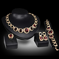 cheap Jewelry Sets-Women's Charm Bracelet Drop Earrings Statement Necklaces Statement Rings Synthetic Ruby Luxury Cute Party Link/Chain Elegant Party /