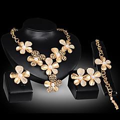 Χαμηλού Κόστους Φλοράλ κοσμήματα-Μαργαριταρένια Κοσμήματα Σετ - Cubic Zirconia Λουλούδι Πάρτι, Κούμπωμα / Αλυσίδα, Μοντέρνα Περιλαμβάνω Χρυσό Για Πάρτι / Ειδική Περίσταση / Επέτειος / Cercei / Κολιέ