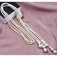 Χαμηλού Κόστους -Γυναικεία Μοντέρνα Πολυεπίπεδο Σκέλη Κολιέ Coliere cu Perle Μαργαριτάρι Απομίμηση Μαργαριταριού Κράμα Σκέλη Κολιέ Coliere cu Perle ,