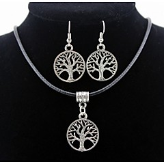 Lift Tree Pendant Silver Necklace & Earrings Jewelry Set