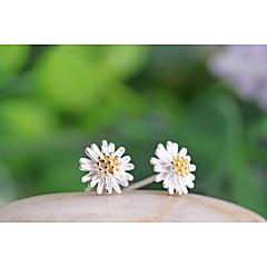 Feminino Brincos Curtos bijuterias Prata de Lei Formato de Flor Margarida Jóias Para Casamento Festa Diário