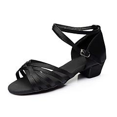 בגדי ריקוד נשים נעליים לטיניות סטן סנדלים / עקבים / נעלי ספורט עניבת פרפר עקב עבה מותאם אישית נעלי ריקוד כסף / חום / מוזהב / בבית / הצגה / אימון / מקצועי
