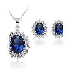 Dames Sieraden Set Synthetische Sapphire Modieus Bruiloft Feest Dagelijks Synthetische Edelstenen Legering Oorbellen Kettingen