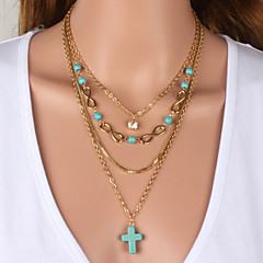 cheap Necklaces-Women's Shape Turquoise Cubic Zirconia Rhinestone Alloy Wedding Party Special Occasion Anniversary Birthday Engagement Gift Causal Daily
