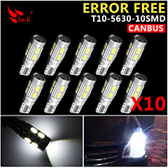 billige Kjørelys-SO.K 10pcs T10 Bil Elpærer 3 W SMD 5630 300 lm 10 LED Blinklys For Universell