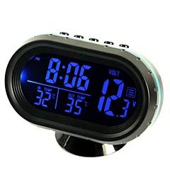 ziqiao πολυ-λειτουργικό αυτοκίνητο ηλεκτρονικό ρολόι / θερμόμετρο / βολτόμετρο με τα φώτα της νύχτας λευκό γυαλί οθόνη (τυχαία χρώματα)