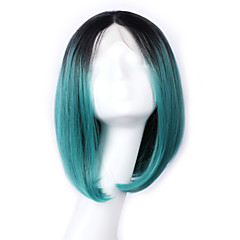 cheap Wigs & Hair Pieces-Synthetic Lace Front Wig Straight Bob Haircut Synthetic Hair Middle Part Bob Blue Wig Women's Lace Front
