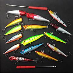billiga Fiskbeten och flugor-17 st Fiskbete Lock förpackningar Vibration Popper Spigg Plast Sjöfiske Kastfiske Isfiske Spinnfiske Jiggfiske Färskvatten Fiske Andra