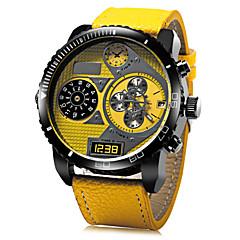 JUBAOLI 남성용 손목 시계 밀리터리 시계 석영 가죽 밴드 블랙 블루 레드 노란색
