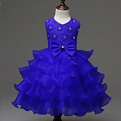 お買い得  女児 ドレス-女の子の ソリッド ポリエステル ドレス 夏 ノースリーブ リボン パープル フクシャ レッド ブルー ピンク
