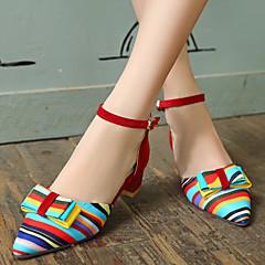 cheap Women's Heels-Women's Synthetics Spring / Summer Chunky Heel Bowknot / Split Joint Black / Red / Blue / Dress
