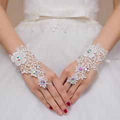 До запястья С открытыми пальцами Перчатка Кружева Свадебные перчатки Вечерние перчатки Стразы Кружева