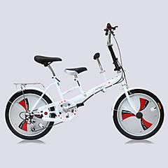 מתקפל אופניים רכיבת אופניים 3 מהירויות 20 אינץ' מבוגר יוניסקס דיסק בלימה כפול מזלג קפיצים קונכי רגיל פלדה סגסוגת אלומיניום אדום לבן