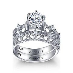 אישית אצילי 925 כסף סטרלינג זוגות CZ אבן טבעת הנישואין