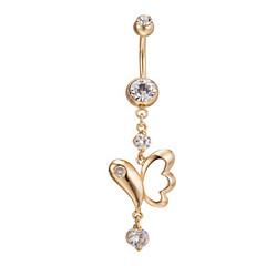 billige Kropssmykker-dame rustfritt stål zirkon navle navle ring danse kroppen smykker piercing kroppen smykker