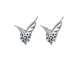 Χαμηλού Κόστους Κουμπωτά Σκουλαρίκια-Γυναικεία Κρυστάλλινο Κουμπωτά Σκουλαρίκια - Ασήμι Στερλίνας, Κρύσταλλο, Επάργυρο Άγγελος φτερά Μοντέρνα, χαριτωμένο στυλ Ασημί Για Γάμου / Πάρτι / Καθημερινά