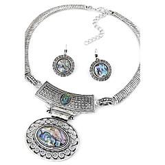 Women European Style Fashion Simple Metal Vintage Oval Necklace Earrings Set