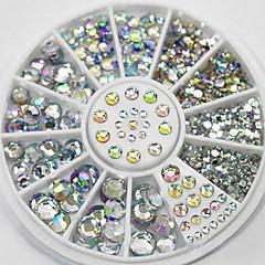 4 boyutu 300pcs tırnak sanat ipuçları kristal ışıltı taklidi dekorasyon tekerlek