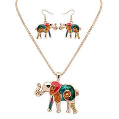 baratos Conjuntos de Bijuteria-Mulheres Conjunto de jóias - Pele Elefante, Animal Europeu, Fashion Incluir Colar / Brincos Prata / Dourado Para Festa / Diário / Casual / Colares