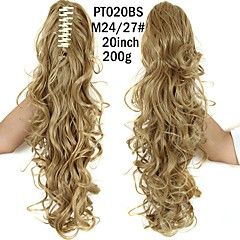 cheap Wigs & Hair Pieces-20inch long curly ponytail claw clip synthetic fake hair ponytail for women