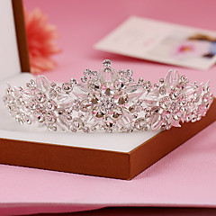 cheap Party Headpieces-Sterling Silver Rhinestone Tiaras Headpiece Classical Feminine Style