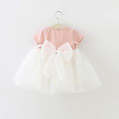 billige Babytøj-Baby Pige Rosette / Pænt tøj Fest Farveblok Kortærmet Bomuld Kjole