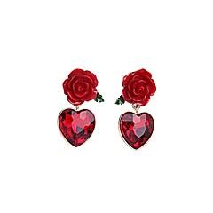 Modny Bohemia Style Europejski Stop Flower Shape Czerwony Biżuteria Na Impreza Codzienny Casual 1 para