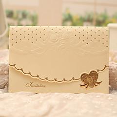 三つ折り 結婚式の招待状-招待状カード クラシック パール紙