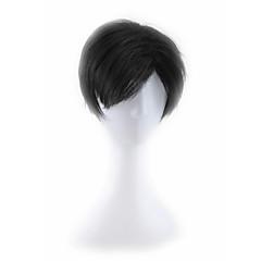 billiga Peruker och hårförlängning-Syntetiska peruker Herr / Dam Rak Svart Syntetiskt hår Svart Peruk Utan lock Svart