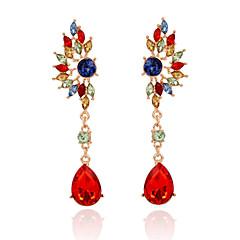 La modă Bohemia Stil Cristal Placat Auriu Aliaj Geometric Shape Verde Curcubeu Bijuterii Pentru Nuntă Petrecere 1 pereche