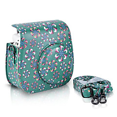 Trumpet Flower PU Leather Case Bag for Fujifilm Instax Mini 8 Instant Film Camera, Green