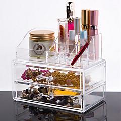 メイク用品収納 化粧品箱 / メイク用品収納 プラスチック / アクリル ゼブラプリント 18.5*10*15.5 cm ビスク