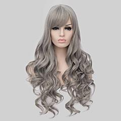 billiga Peruker och hårförlängning-Syntetiska peruker Vågigt Syntetiskt hår Ombre-hår Grå Peruk Dam Lång Utan lock Grå