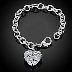 Naisten Ranneketjut Amuletti-rannekorut Love Heart Muoti Ihana Personoitu pukukorut Sterling-hopea Heart Shape Rakkaus Korut
