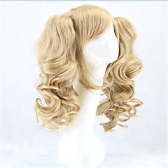 tanie Peruki syntetyczne-Peruki syntetyczne / Peruki do kostiumów Kędzierzawy Blond Z kucykiem Włosy syntetyczne Blond Peruka Damskie Bez czepka