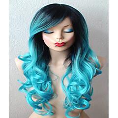 Χαμηλού Κόστους Περούκες μεταμφιέσεων-Συνθετικές Περούκες / Περούκες Στολών Σγουρά Με αφέλειες Συνθετικά μαλλιά Μαλλιά με ανταύγειες / Σκούρες ρίζες / Πλευρικό μέρος Μπλε Περούκα Γυναικεία Μακρύ