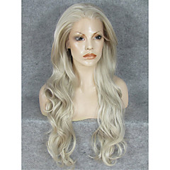 billiga Perukfest-Syntetiska peruker Vågigt Blond Syntetiskt hår Blond Peruk Spetsfront Blond