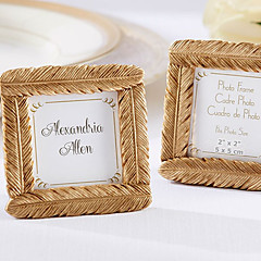 cheap Frames & Albums-Gold Feather Square Frame Unique Indian Wedding Decor Wedding Favors