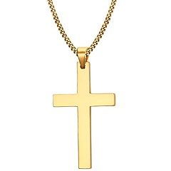 Miesten Riipus-kaulakorut Cross Shape Ruostumaton teräs Gold Plated Muoti minimalistisesta pukukorut Korut Käyttötarkoitus Party