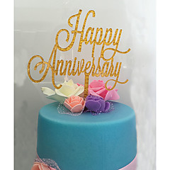 cheap Cake Toppers-Cake Topper Classic Theme Monogram Acrylic Anniversary with Flower 1 OPP