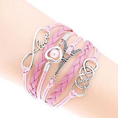 cheap -Men's Women's Chain Bracelet Wrap Bracelet Heart Handmade Multi Layer Fashion Leather Alloy Heart Tower Love Infinity Jewelry For Party