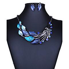 baratos Conjuntos de Bijuteria-Mulheres Conjunto de jóias - Europeu, Fashion, Euramerican Incluir Colar / Brincos Roxo / Verde / Azul Para Casamento Festa Diário / Colares